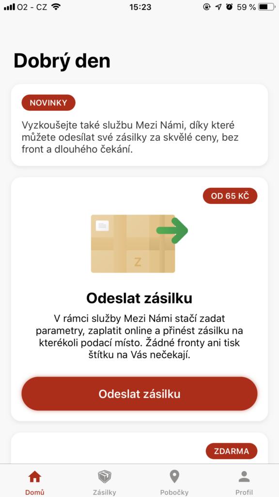 Zásilkovna aplikace MeziNámi