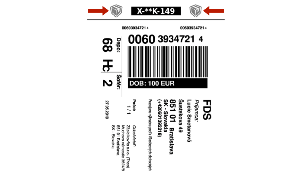 Přímý tisk štítků na externí přepravce