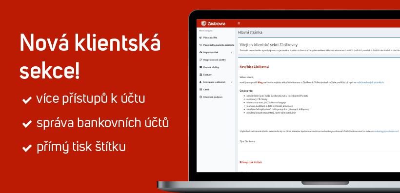 Klientská sekce Zásilkovna.cz