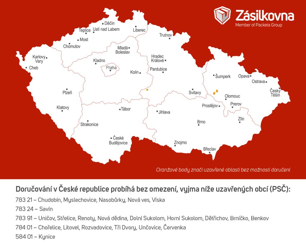 Coronavirus Zásilkovna mapa zavřených obcí